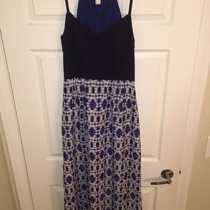 J. crew navy and white printed maxi dress